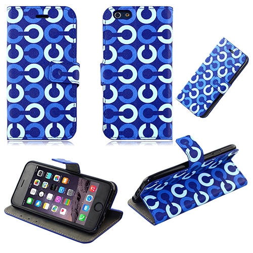 Blue circles patten wallet case