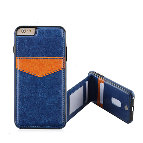Blue leather cover with credit card stand Tpu Crystal Case