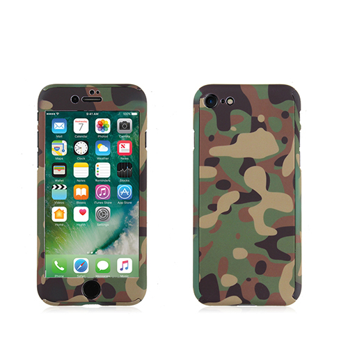 Green Camouflage 360 degree full cover case with screen protector