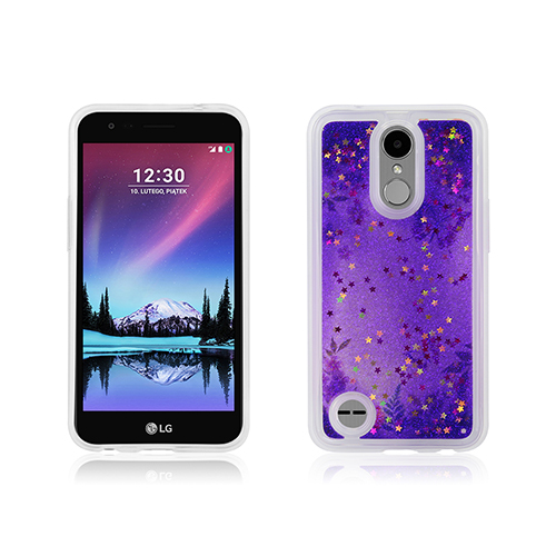 Butterfly with purple glitter liquid case