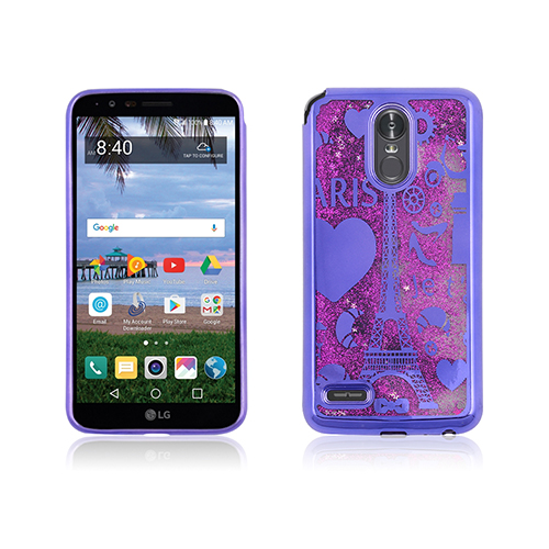 Tower liquid case with with pink glitter/chrome purple border